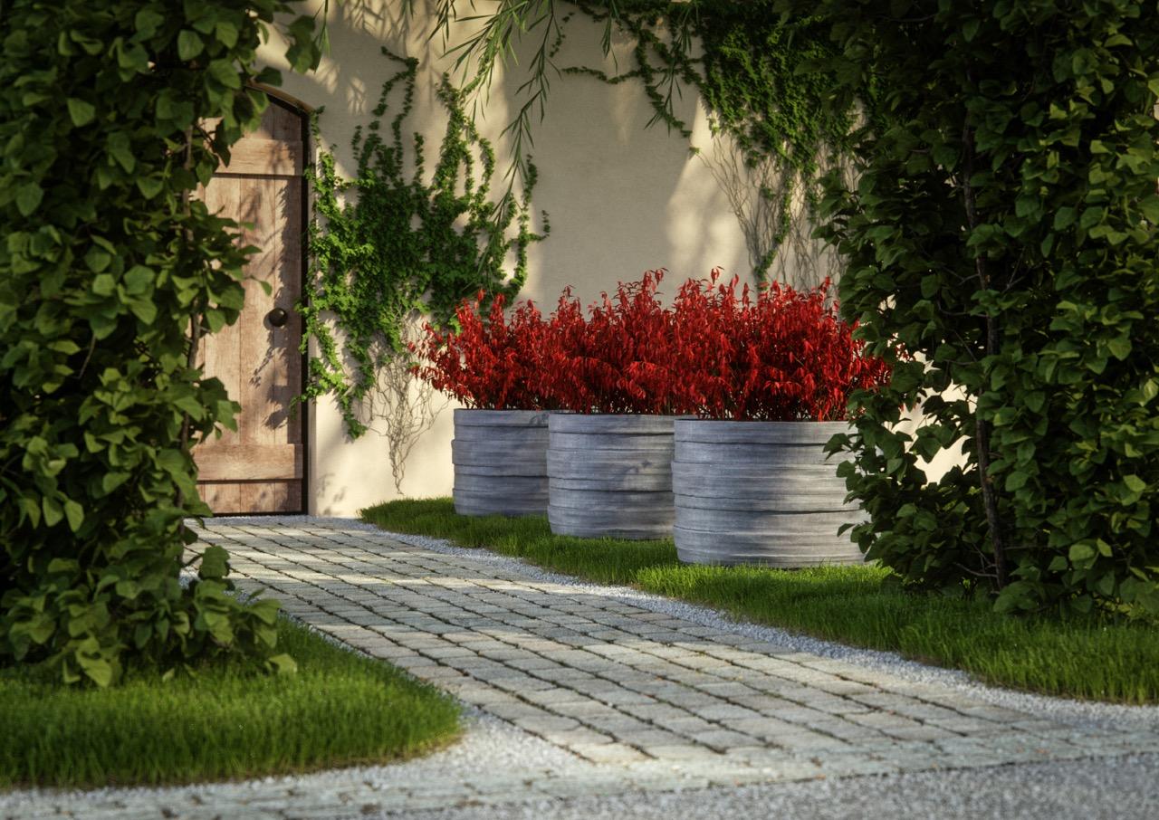 grote betonnen plantenbakken